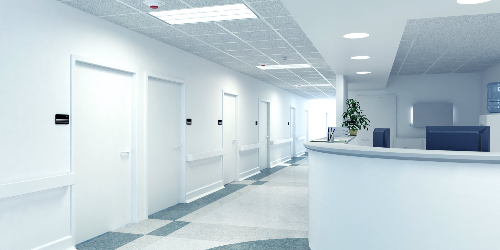 Automatic doors in hospital setting.