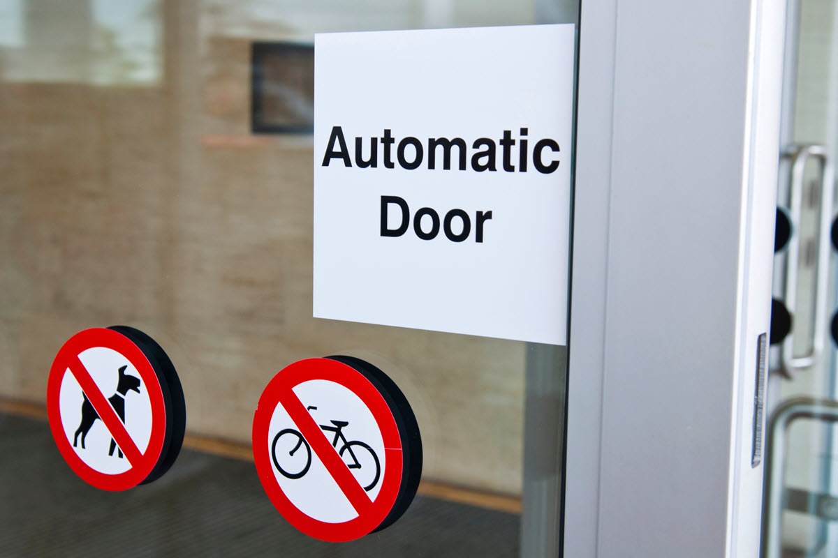 Access friendly automatic doors.