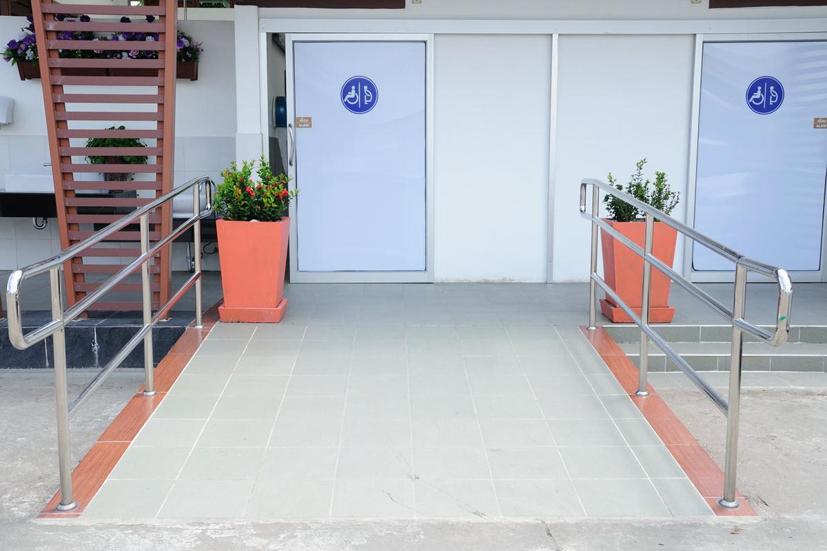Bathroom wheelchair accessible public facilities.