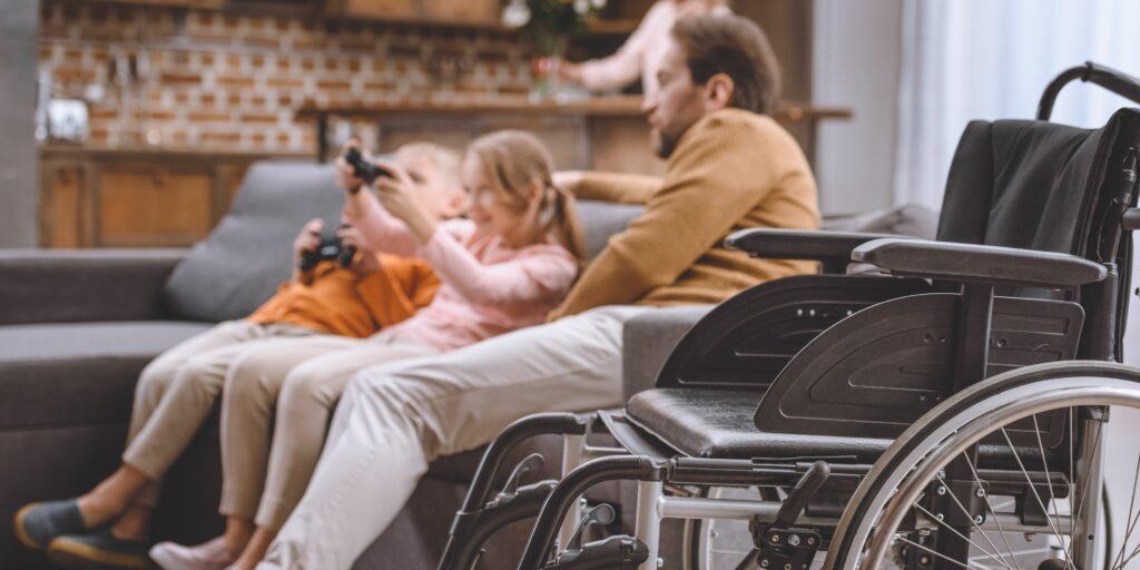 Family enjoying wheelchair-friendly home.
